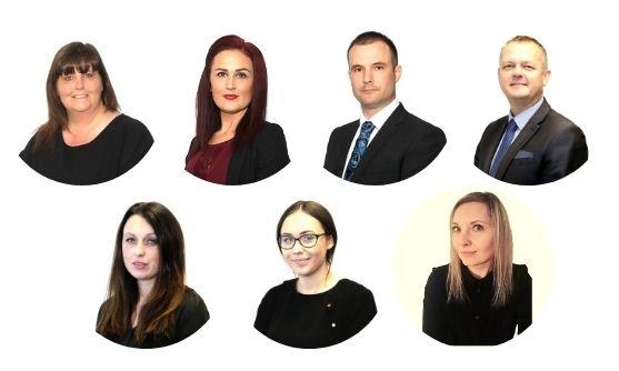 The Team at Yaxley L-R. Joanne Armfield, Phil Greaves, Clare Brown, Kirsty Embleton, Tilly Sharman, Katie Staggs, & Chris Burton.